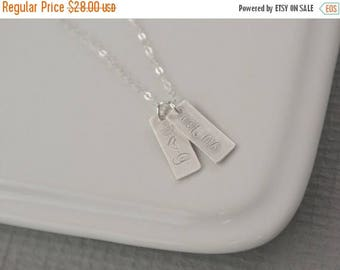 SALE - 1 2 3 4 5 6 7 8 9 SILVER Personalized Initial Tags Necklace, Personalized Jewelry, Rectangle Tag Charms, Mothers Day Necklace, Tiny B