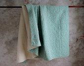 Calico Cotton Quilt , Vintage Whole Cloth Quilt , Quilted Blanket , Turquoise Orange Floral Calico Comforter, Fresh Farmhouse Decor