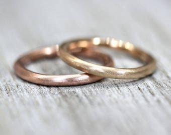 Men's or Women's 2.5mm Round Gold Wedding Band, Pudgy Thick Round Recycled 14k Yellow or Rose Gold Wedding Ring - Made in Your Size