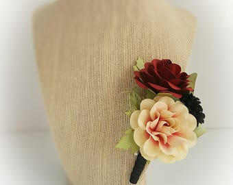 Wedding Boutonniere - Paper Flowers - Winter Wedding - Fall Wedding - Romance Collection - Groom Bout - Boutonniere - Large - Made To Order
