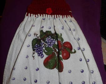 Cute mixed fruit printed towel with wine yarn crochet hanging top - ctf