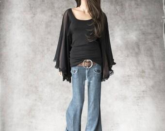 Black top women /Flyaway sleeve mesh tulle/Scoop neck tee