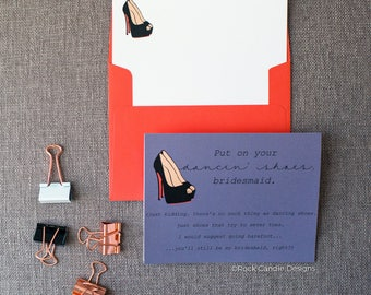 Put On Your Dancing Shoes Will You Be My Bridesmaid Card | How To Ask Bridesmaid | Wedding Stationery | Funny Way To Ask Bridesmaid | Witty