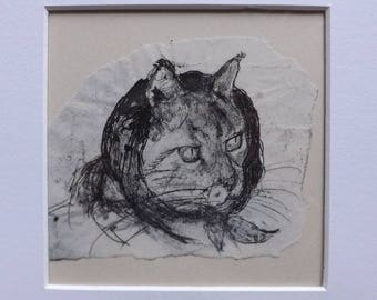 "Tabby Cat -""Madame Katsky's Headscarf"" - Original Monoprint - OOAK"