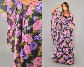 70's Lilli Diamond Chiffon Floral Cape Dress