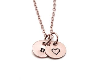 n Necklace, Rose Gold, Personalized Heart, Initial Necklace, All Letters Available, Hand Stamped Jewelry, Mother's Necklace, Custom Jewelry