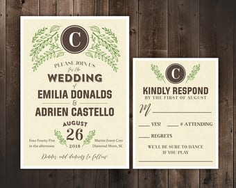 Rustic Wedding Invitation Set, Monogram Wedding Invitations with RSVP, Foliage Wedding, Simple Wedding Invitation, printed on cardstock