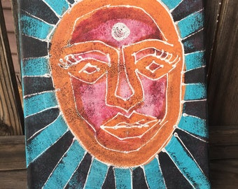 """Glowing Face - 8"""" x 10"""" painting"""