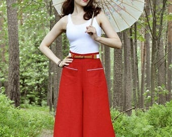 SUMMER SALE 30s style high waisted palazzo pants in red linen, size US6 / wide leg trousers / vintage style / beach wear