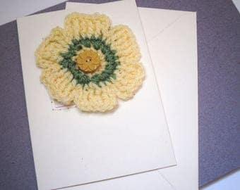 Crochet Flower Greetings Card, Yellow Flower Card, Birthday Card