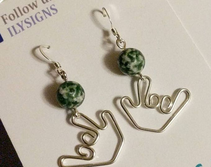 I love you earrings dangle green beads