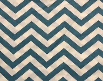 Sale - Chevron - Birch Fabrics - Skinny Chevron Teal - Certified Organic Cotton - 45 inches