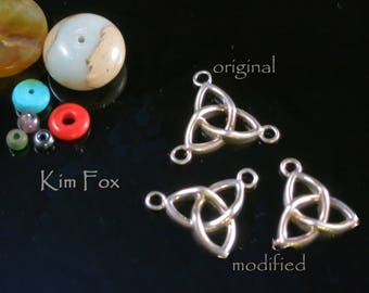 Celtic Trefoil Connector with 3 Loops - Designed by Kim Fox in Sterling Silver