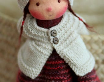 "OOAK, Waldorf doll, Knitted doll Drusilla- 14"" by Peperuda dolls, soft doll, handmade doll, puppen, rag doll, Steiner doll, art doll"