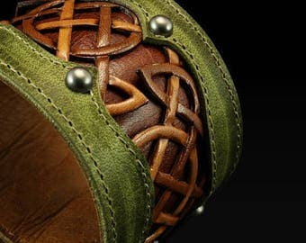 "Memorial Day Sale Leather Cuff, Leather Bracelet:  leather cuff with a celtic design ""Celtic Trilogy Cuff"""
