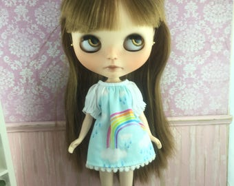 Blythe Smock Dress - Rainbow and Clouds