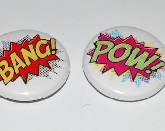 Comic Book Bang/Pow Button Badge Set 25mm / 1 inch Retro