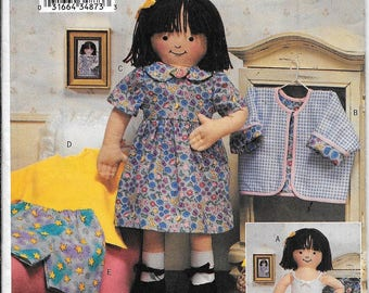"Butterick 3490 Soft Maggie 18"" American Girl Or Gotz Doll & Doll Clothes Sewing Pattern UNCUT"