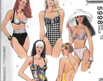 McCall's 5998 Vintage Bikini One Piece  Swimming Bathing Suit Sewing Pattern UNCUT Size 12