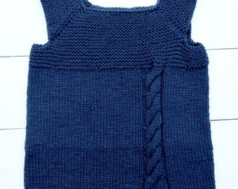 Hand Knitted Milo Vest, in navy blue pure merino superwash wool.  Perfect for 3 - 4 years old