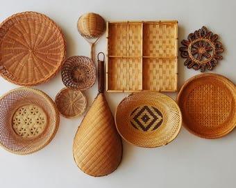 Basket Wall Art / Bamboo Basket / Wicker Basket Set / Boho Decor / Basket Set / Vintage Basket / Boho Art