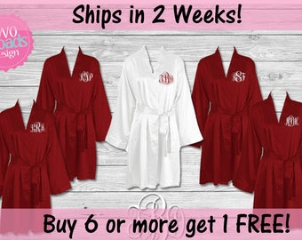 Set of Bridesmaid Robes, Set of Bridesmaid Gifts, Satin Buy 6 get the 7th FREE Bride Robe, Personalized Robe, Embroidered Robe, Lightweight