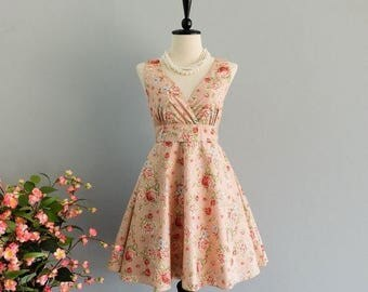 Flash SALE Pink dress V neck dress floral dress pink party dress floral sundress pink bridesmaid dresses floral bridesmaid dresses pink sund