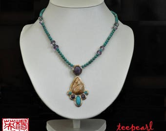 Unusual combination of turquoise, amethyst, jasper necklace, sterling silver