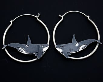 Dive Orca Handmade Sterling Silver Earrings Whale Killer Whale Earrings Hoop Earrings Animal Hoop Earrings Ritual Remains Boho Nature Lover