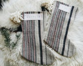 Red and Navy Striped Hmong Christmas Stockings - Modern Farmhouse Christmas Décor - Bohemian Stocking with Pom Poms