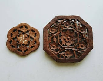 Set of 2 Vintage Wooden Plant Trivet - Carved Wood Plant Stands - Modern Bohemian Plant Accessory
