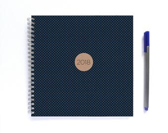 2018 Weekly Planner • LARGE 20cm/7.9in Square • Navy Blue Polka Dots