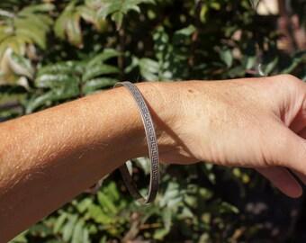 40's Greek Key Sterling Bangle Bracelet