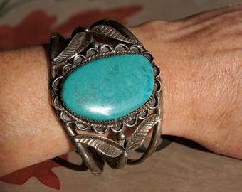 Southwest Native American Silver Turquoise Indian Cuff Bracelet GM