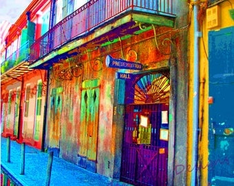 Preservation Hall- French Quarter New Orleans Photographic Art- Jazz Hall- Travel Photo- NOLA photography- Historical Photo