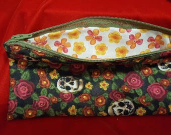 Skull and Flower Fabric Zipper Pouch