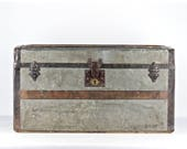 Vintage Trunk Antique Trunk Steamer Trunk Vintage Streamer Trunk Metal Steamer Trunk  Old Trunk Trunk Coffee Table Vintage Suitcase Trunk