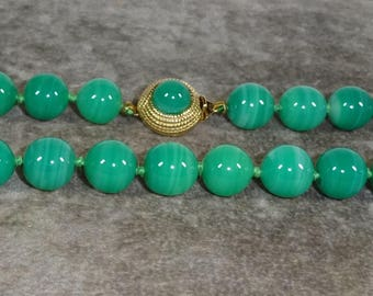 Signed Ciner Faux Jade Glass Bead Necklace, Beautiful glass beads, signed Ciner