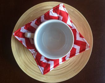 Soup Bowl Pot Holder, Bowl Carry Placemat, Set of Two, Soup Carrier, Red White Chevron