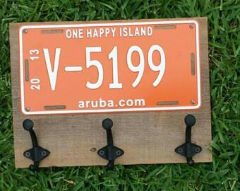 Aruba Coat, keys or cap holder, rustic style, red license plate, one happy island
