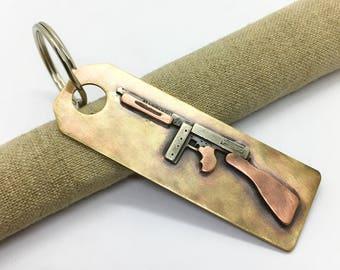 Tommy gun key chain hand made Thompson sub machine gun key ring