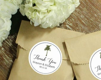 24 Vintage Palm Tree Wedding Favor Bags | Vintage Palm Tree Label Design | Tropical Wedding Favors | Kraft Favor Bags with Palm Tree Labels