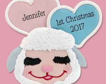 Little Lamb Baby's 1st Christmas Personalized Ornament  - HANDMADE Polymer Clay Ornament