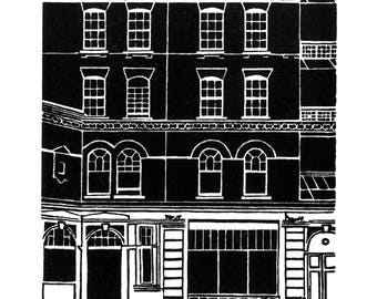 Craft Central, Pennybank Chambers, St John's Sq, Clerkenwell - Handprinted / Hand pulled Linocut - Edition of 75
