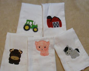 Personalized Farm Animals Burp or Bibsfor Boys and Girls SINGLES
