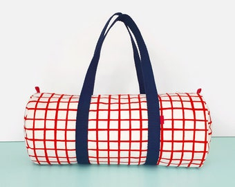 Overnight Bag Grid Pattern in Red Weekender Bag Womens Weekend Bag Mens Duffle Bags Womens Gym Bag Mens Duffel Bag Handprinted by Olula