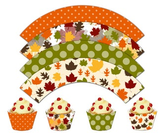 Thanksgiving Cupcake Wrappers, Autumn Printable Cupcake Wrappers, Thanksgiving Theme Party Decor - Instant Download-DP453