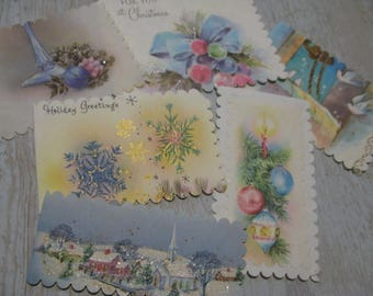 Charming VINTAGE 1940s-60s Christmas Gift Tags Set of 6 Handmade By  VINTAGE Repurposer ahead of her time, Meticulous & Sweet, See IDEAS!
