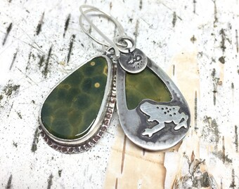 Frog Earrings with Green Fossil Gems, Fossilized Fern Earrings, Handmade, Sterling Silver, Modern Earrings, Great with Jeans, Made In NH,
