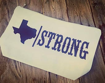 Texas Strong Hurricane Harvey Large Makeup Bag White and Black
